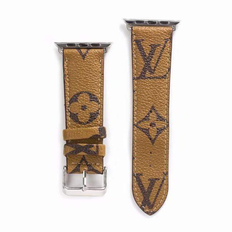 Watch Bands Beige / 38mm/40mm Louis Vuitton Style Monogram Leather Watch Band Strap Series 4/3/2/1