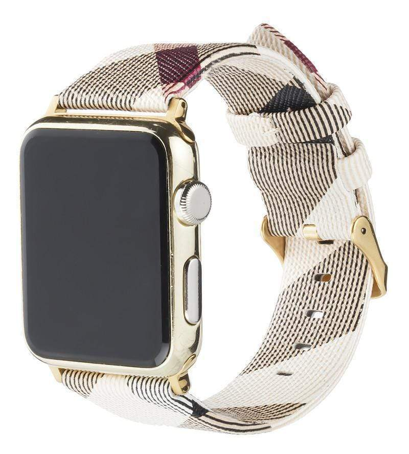 Watch Bands MORE COLORS Burberry Style Plaid Leather Compatible With Apple Watch 38mm 40mm 42mm 44mm Band Strap For iWatch Series 4/3/2/1
