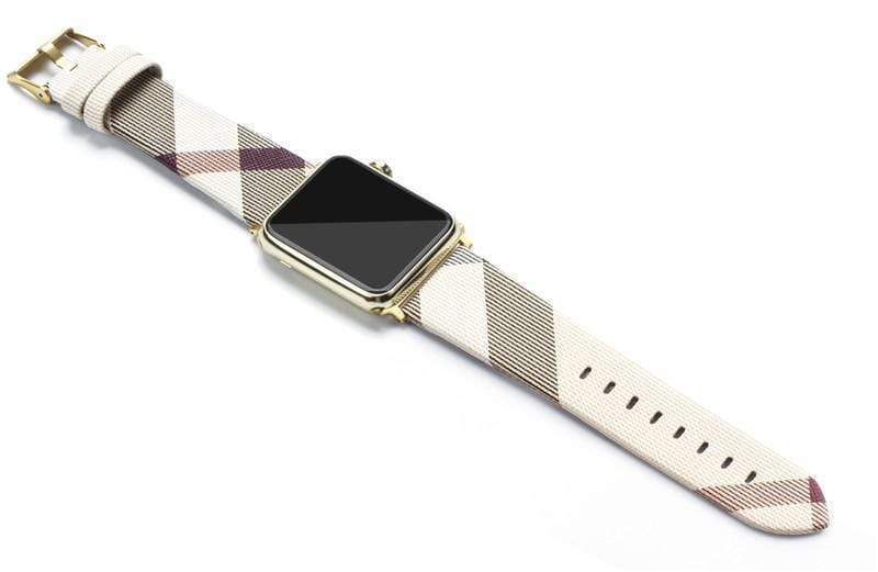Watch Bands 42mm/44mm With Black Hardware / beige MORE COLORS Burberry Style Plaid Leather Compatible With Apple Watch 38mm 40mm 42mm 44mm Band Strap For iWatch Series 4/3/2/1