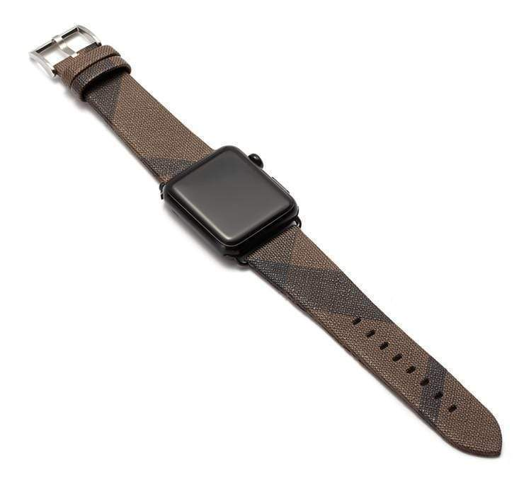 Watch Bands 42mm/44mm With Black Hardware / brown MORE COLORS Burberry Style Plaid Leather Compatible With Apple Watch 38mm 40mm 42mm 44mm Band Strap For iWatch Series 4/3/2/1