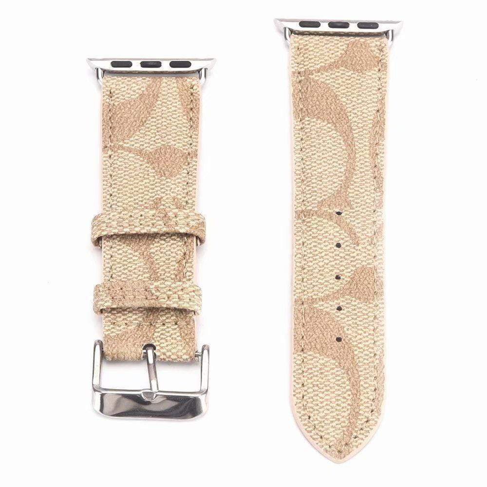 Watch Bands beige / 42mm/44mm MORE COLORS Coach Style Leather Compatible With Apple Watch 38mm 40mm 42mm 44mm Band Strap For iWatch Series 4/3/2/1