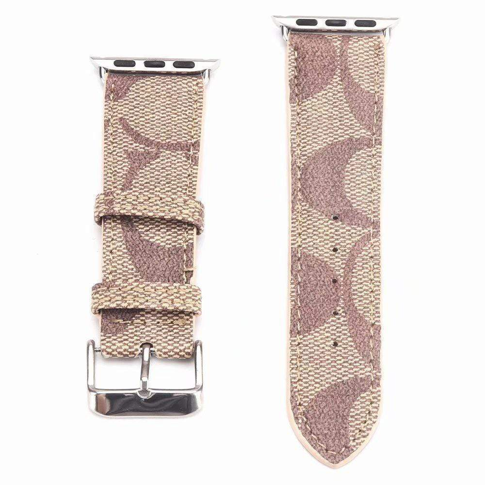 Watch Bands light brown / 42mm/44mm MORE COLORS Coach Style Leather Compatible With Apple Watch 38mm 40mm 42mm 44mm Band Strap For iWatch Series 4/3/2/1