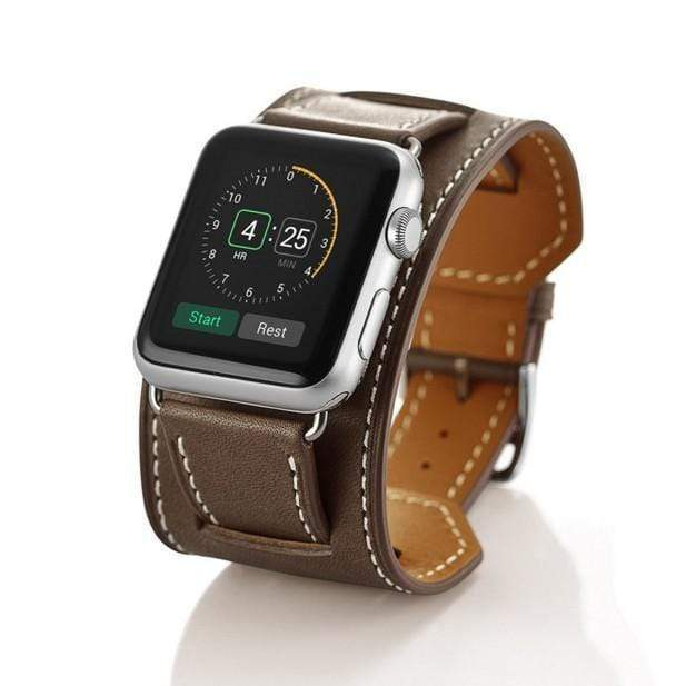 Watch Bands brown / 42mm/44mm MORE COLORS Genuine Leather Durable Compatible With Apple Watch iWatch 38mm 40mm 42mm 44mm Band Strap For iWatch Series 4/3/2/1