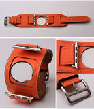 Watch Bands orange / 42mm/44mm MORE COLORS Genuine Leather Durable Compatible With Apple Watch iWatch 38mm 40mm 42mm 44mm Band Strap For iWatch Series 4/3/2/1