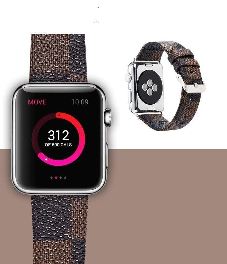 Watch Bands MORE COLORS Louis Vuitton Style Classic Damier Leather Compatible With Apple Watch 38mm 40mm 42mm 44mm Band Strap For iWatch Series 4/3/2/1