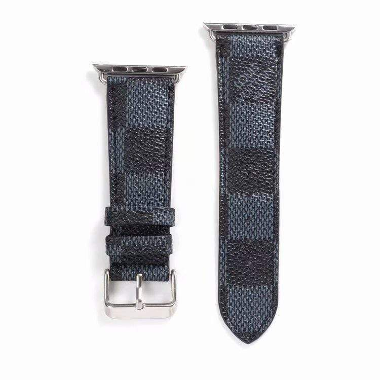 Watch Bands black / 42mm/44mm MORE COLORS Louis Vuitton Style Classic Damier Leather Compatible With Apple Watch 38mm 40mm 42mm 44mm Band Strap For iWatch Series 4/3/2/1