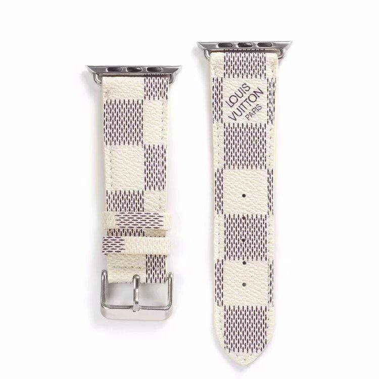 Watch Bands white / 42mm/44mm MORE COLORS Louis Vuitton Style Classic Damier Leather Compatible With Apple Watch 38mm 40mm 42mm 44mm Band Strap For iWatch Series 4/3/2/1