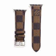 Watch Bands brown / 42mm/44mm MORE COLORS Louis Vuitton Style Classic Damier Leather Compatible With Apple Watch 38mm 40mm 42mm 44mm Band Strap For iWatch Series 4/3/2/1