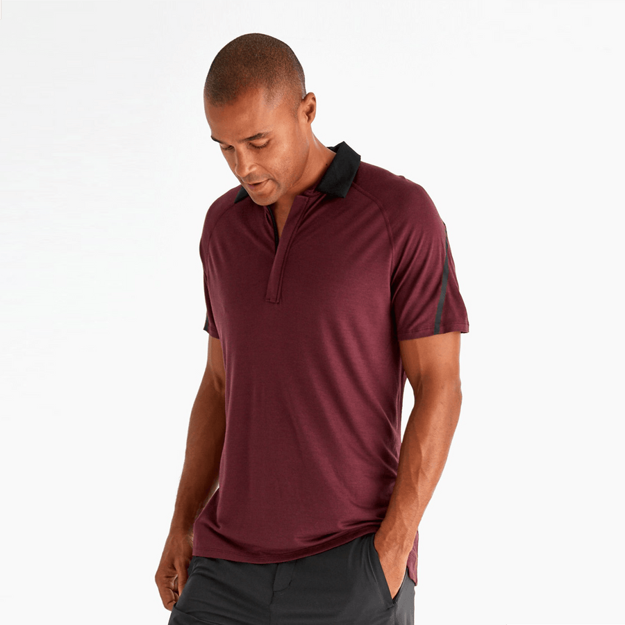 Paskho Innovator – Luxurious Merino Silk Travel Polo in Deep Plum