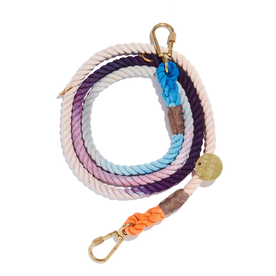 THE LOIS OMBRE COTTON ROPE DOG LEASH, ADJUSTABLE