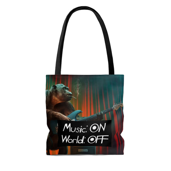 Music ON, World OFF Tote Bag