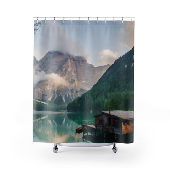 Boathouse On A Mountain Lake Shower Curtains