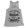 What Happens At The Beach Stays At The Beach/Women's Flowy Racerback Tank