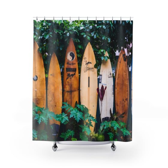 Surfboard Fence Shower Curtains