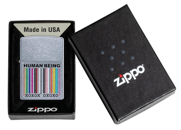 Zippo Chrome Finishes 49578 Human Being Design Lighter