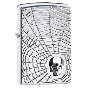 Zippo Skull 29931 Spider Web Skull Lighter - Thomas Tools