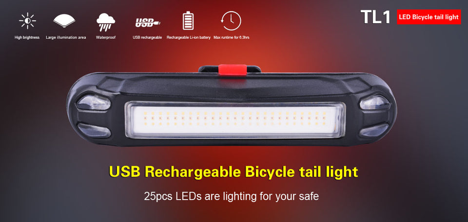 Klarus TL1 Bicycle Tail Light USB Rechargeable (20 Lumens)