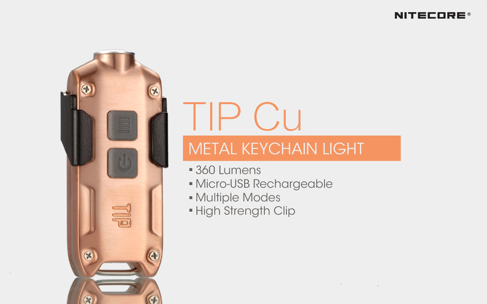 Nitecore TIP CU Copper Keychain Rechargeable Flashlight (360 Lumens)