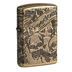 Zippo Skull 49035 Freedom Skull Antique Brass Lighter