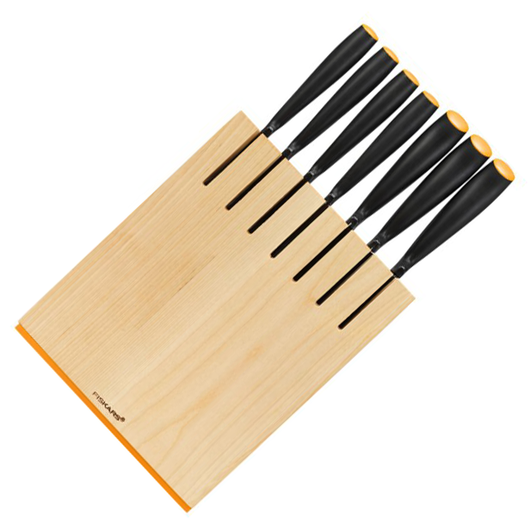 Fiskars Birchwood Knife Block with 7 Knives