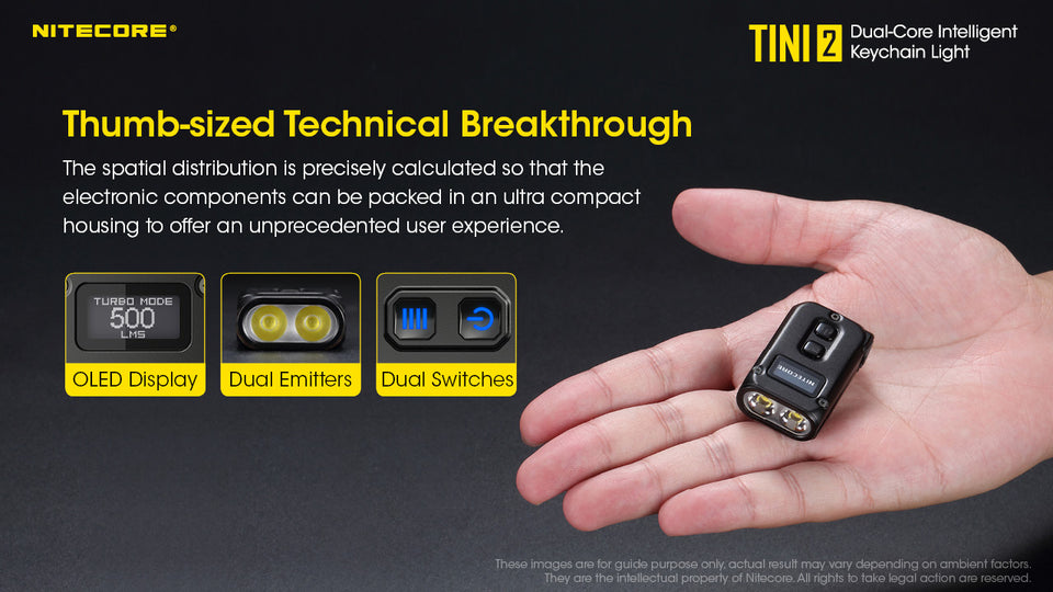 Nitecore TINI 2 Keychain Rechargeable Flashlight (500 Lumens) (2 Versions)