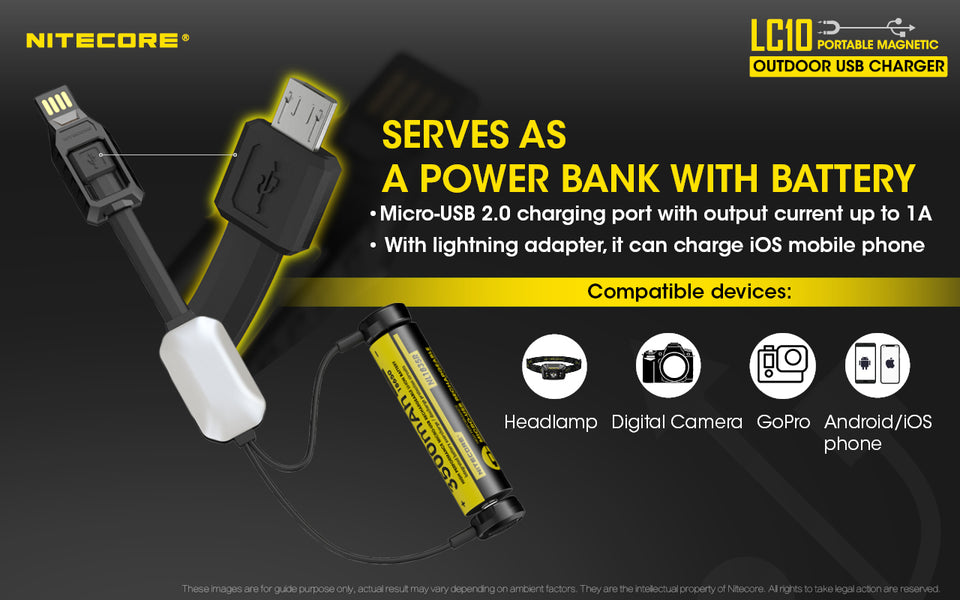 Nitecore LC10 Portable Magnetic Outdoor USB Charger - Thomas Tools