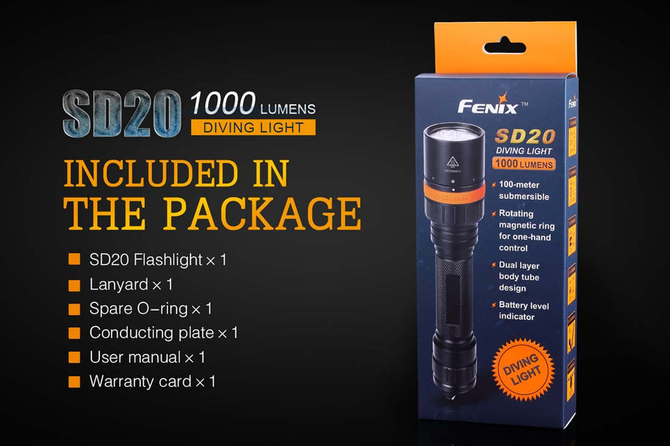 Fenix SD20 Diving Light (1000 Lumens) - Thomas Tools