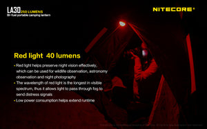 Nitecore LA30 White & Red Bi-Fuel Rechargeable Lantern (250 Lumens) (2 Versions)