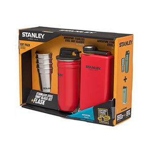 Stanley Adventure Shot Glass Set + Flask Flannel Red Gift Pack