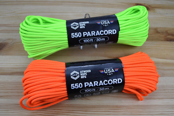 Atwood 550lbs Paracord 7 cores 100ft (Neon)