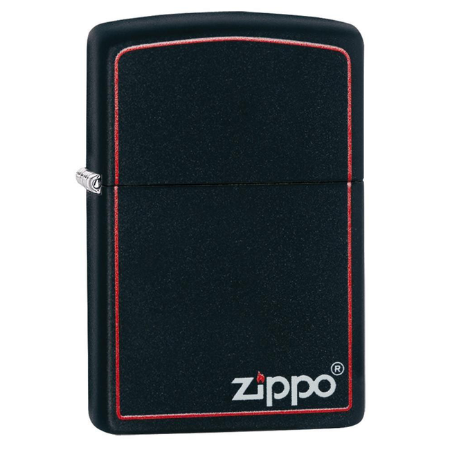 Zippo Matte Logo 218ZB Classic Black and Red Lighter - Thomas Tools