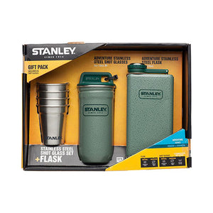 Stanley Adventure Shot Glass Set + Flask Flannel Hammertone Green Gift Pack