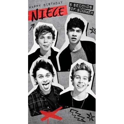 5 Seconds of Summer Niece Birthday Card