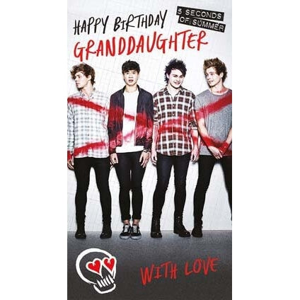 5 Seconds of Summer Granddaughter Birthday Card
