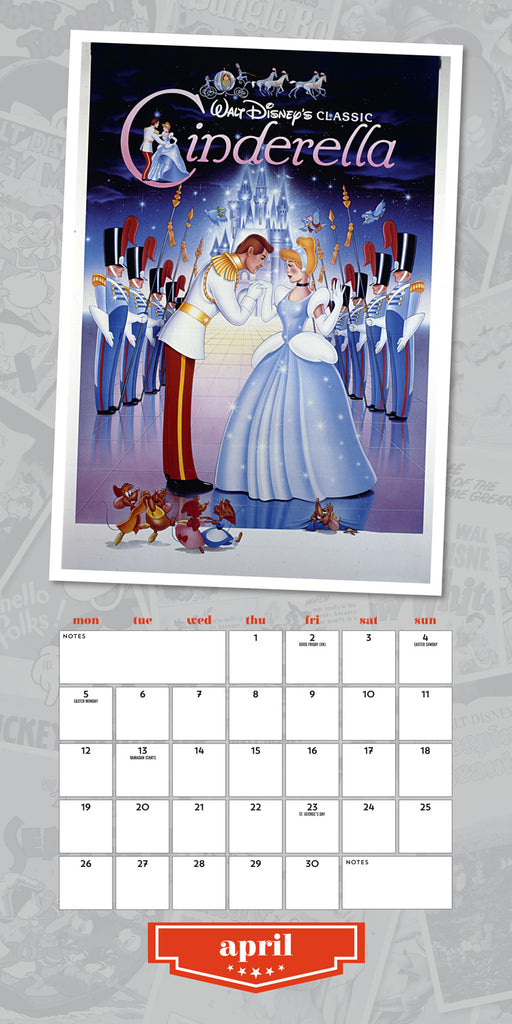 Disney Vintage Posters 2021 Square Wall Calendar April