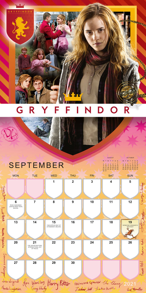 Harry Potter 2021 Square Wall Calendar September