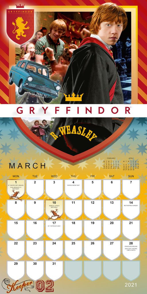 Harry Potter 2021 Square Wall Calendar March