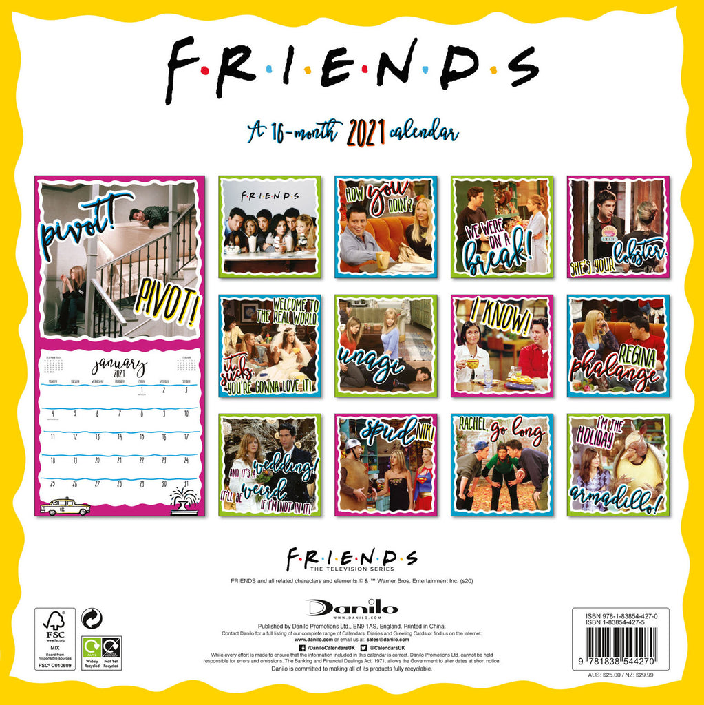 Friends Official 2021 Square Wall Calendar Back
