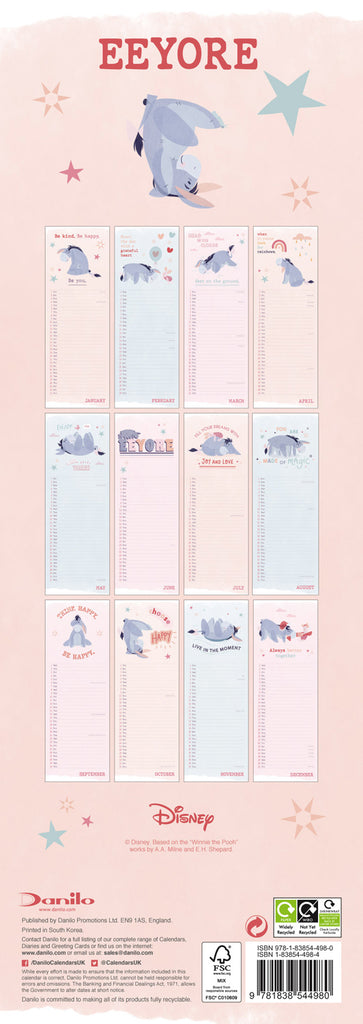 Eeyore 2021 Slim Calendar Back Cover