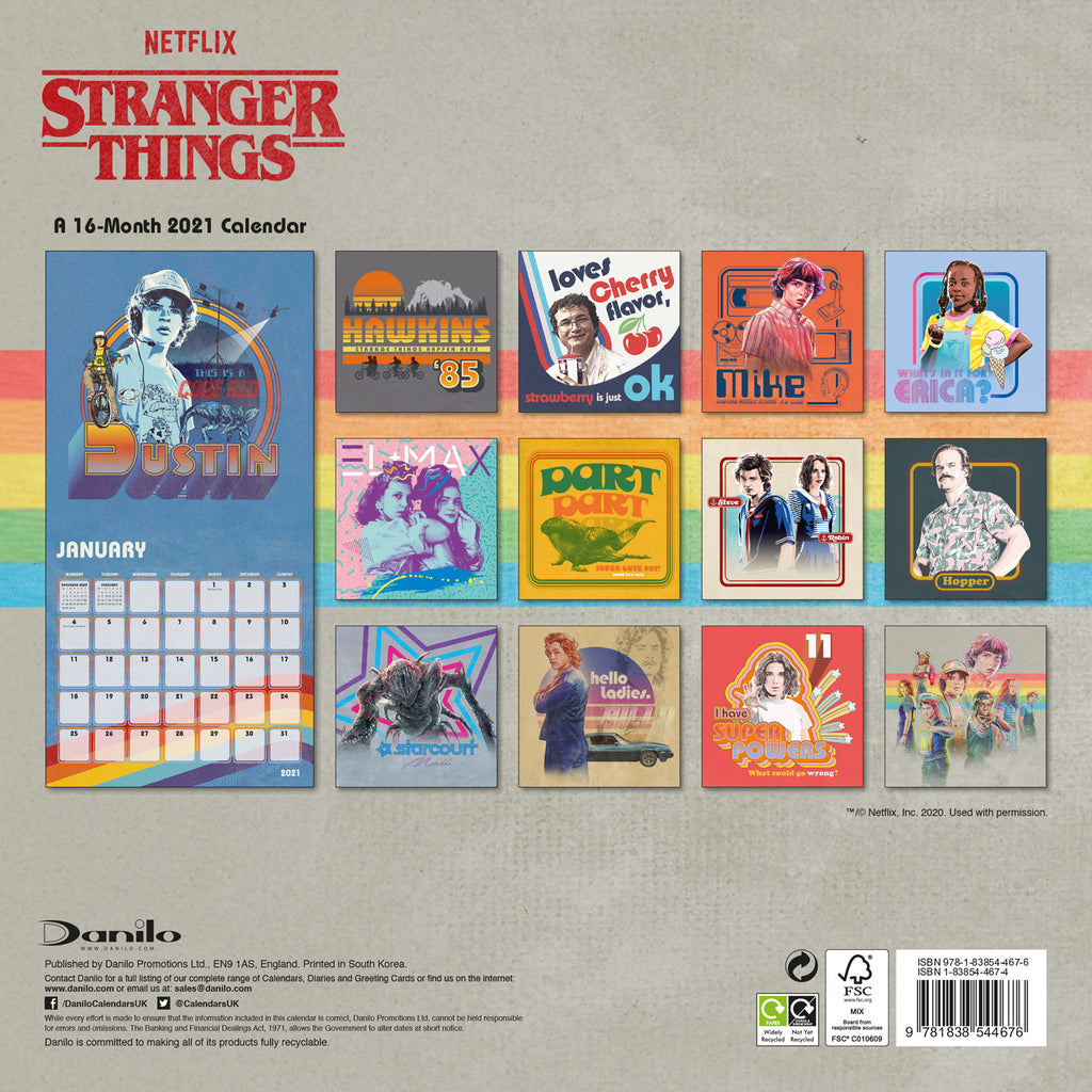 Stranger Things 2021 Square Wall Calendar Back