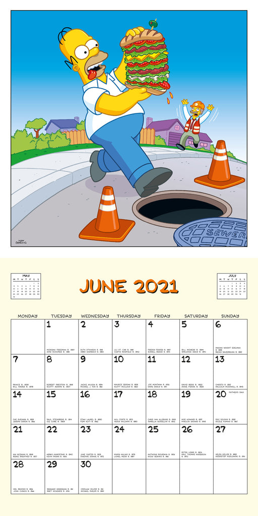 The Simpsons 2021 Square Wall Calendar June