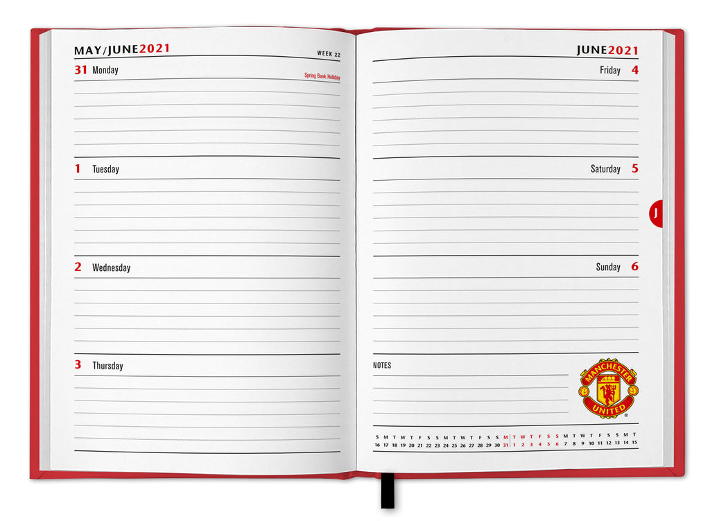 Manchester United Football Club 2021 A5 Diary Inside