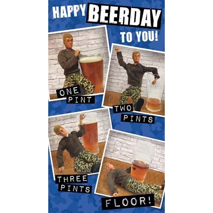 Action Man Birthday Card  Happy Beerday