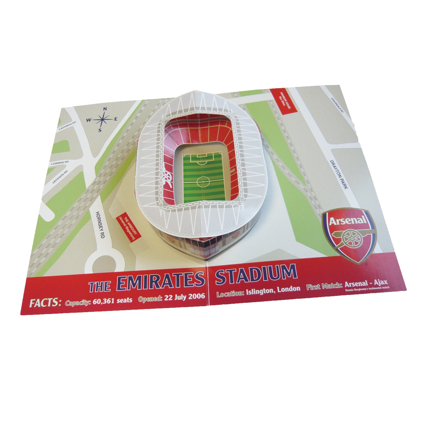 Arsenal Football Club Emirates Stadium Pop-up Birthday Card