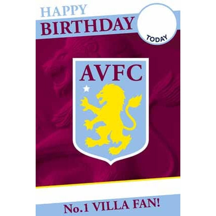 Aston Villa Any Age, Name, Sticker Personalised Card Happy Birthday Card