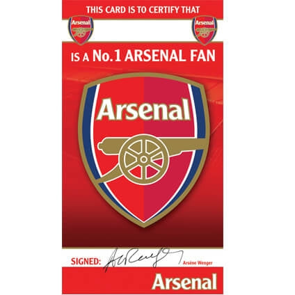 Arsenal Certificate Birthday Card
