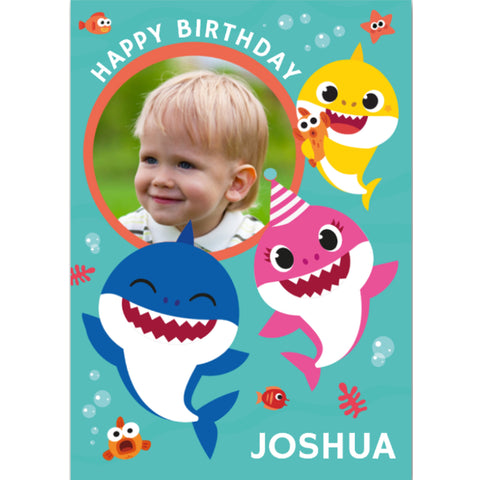 Baby Shark Personalised Name and Photo Birthday Card