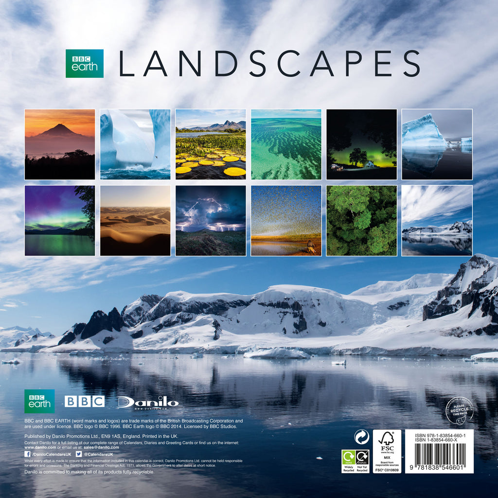 BBC Earth Landscapes 2021 Calendar Back