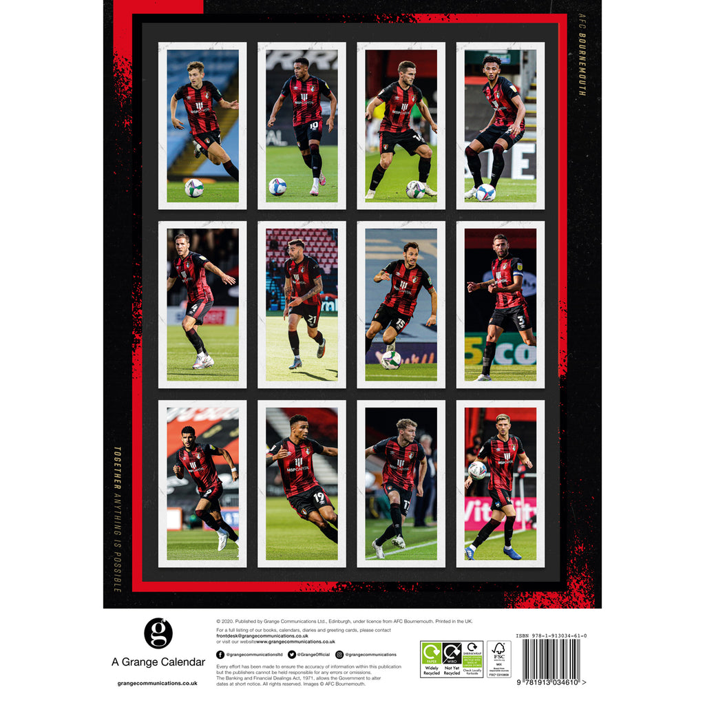 AFC Bournemouth 2021 A3 Wall Calendar Back