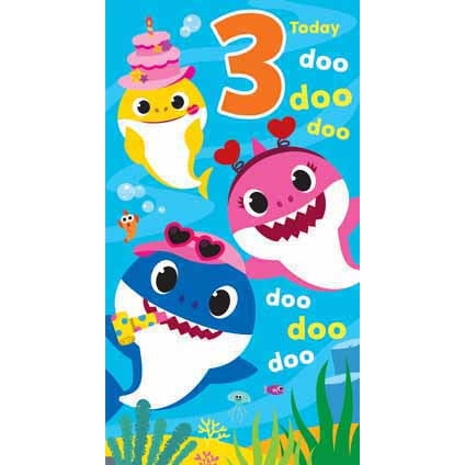 Baby Shark Age 3 Birthday Card